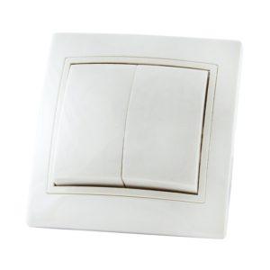 Выключатель в рамку с/у TDM Таймыр SQ1814-0002, 2 клавиши, 10А, 230В, IP20, керамика, белый
