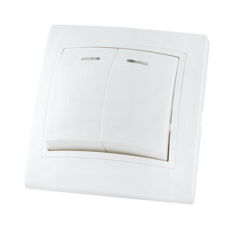 Выключатель в рамку с/у TDM Таймыр SQ1814-0005, 2 клавиши, 10А, 230В, IP20, керамика, белый