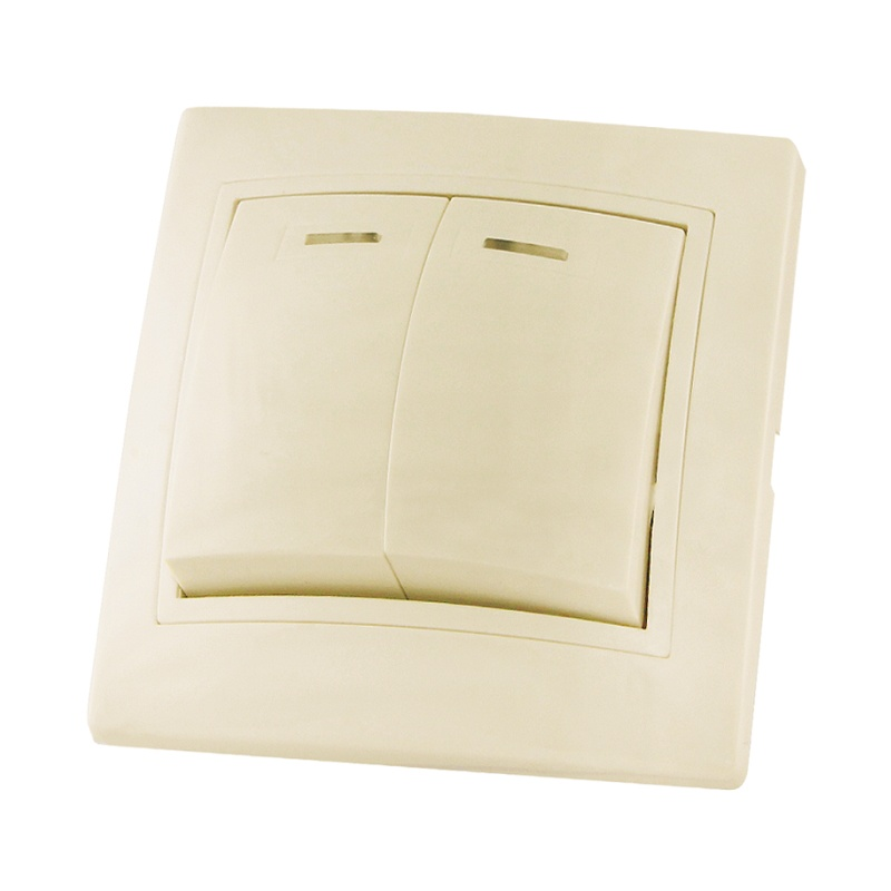 Выключатель в рамку с/у TDM Таймыр SQ1814-0105, 2 клавиши, 10А, 230В, IP20, керамика, сл.кость
