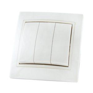 Выключатель в рамку с/у TDM Таймыр SQ1814-0003, 3 клавиши, 10А, 230В, IP20, керамика, белый