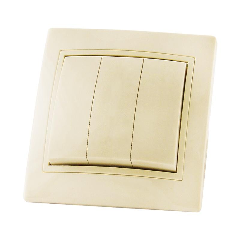 Выключатель в рамку с/у TDM Таймыр SQ1814-0103, 3 клавиши, 10А, 230В, IP20, керамика, сл.кость