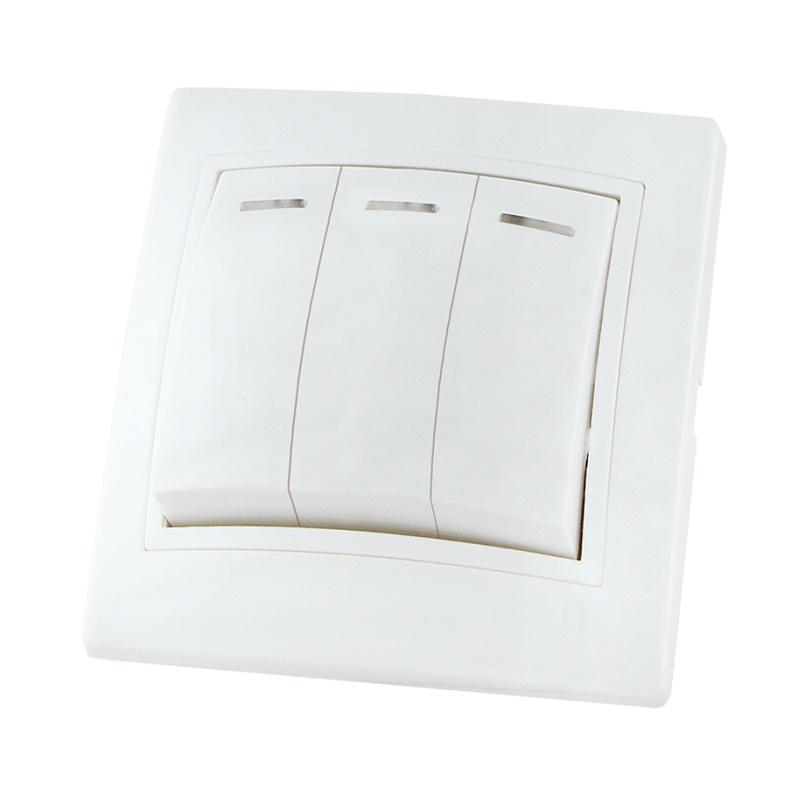 Выключатель в рамку с/у TDM Таймыр SQ1814-0006, 3 клавиши, 10А, 230В, IP20, керамика, белый
