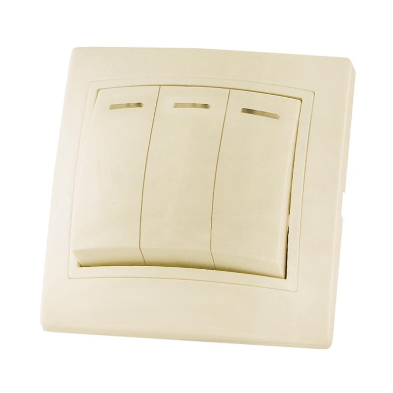 Выключатель в рамку с/у TDM Таймыр SQ1814-0106, 3 клавиши, 10А, 230В, IP20, керамика, сл.кость