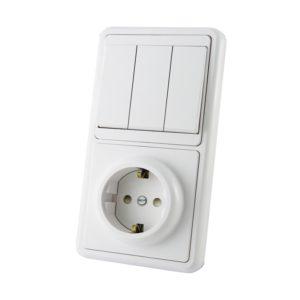 Блок комб. БКВР, 3 клавиши, выключатель 10А+розетка 16А, 230В, с/з и шторками, IP20, белый