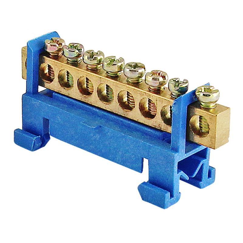 "Шина ""N"" нулевая с изолятором на DIN-рейку тип ""стойка малая"" 100А, 6х9 мм (8 отв.)"