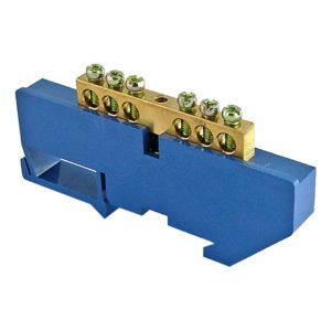 """Шина """"N"""" нулевая с изолятором на DIN-рейку тип """"стойка большая"""" 100А, 6х9 мм (6 отв.)"""