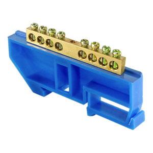 """Шина """"N"""" нулевая с изолятором на DIN-рейку тип """"стойка большая"""" 100А, 6х9 мм (8 отв.)"""