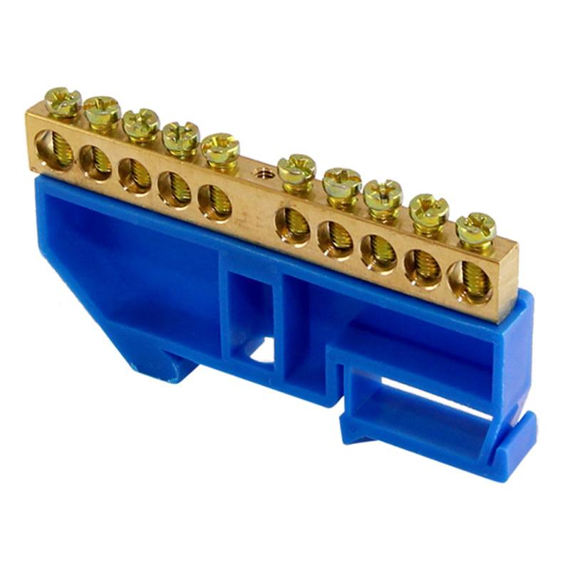 """Шина """"N"""" нулевая с изолятором на DIN-рейку тип """"стойка большая"""" 100А, 6х9 мм (10 отв.)"""