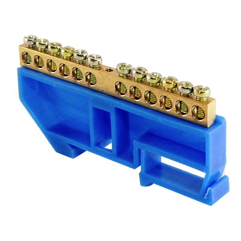 """Шина """"N"""" нулевая с изолятором на DIN-рейку тип """"стойка большая"""" 100А, 6х9 мм (12 отв.)"""