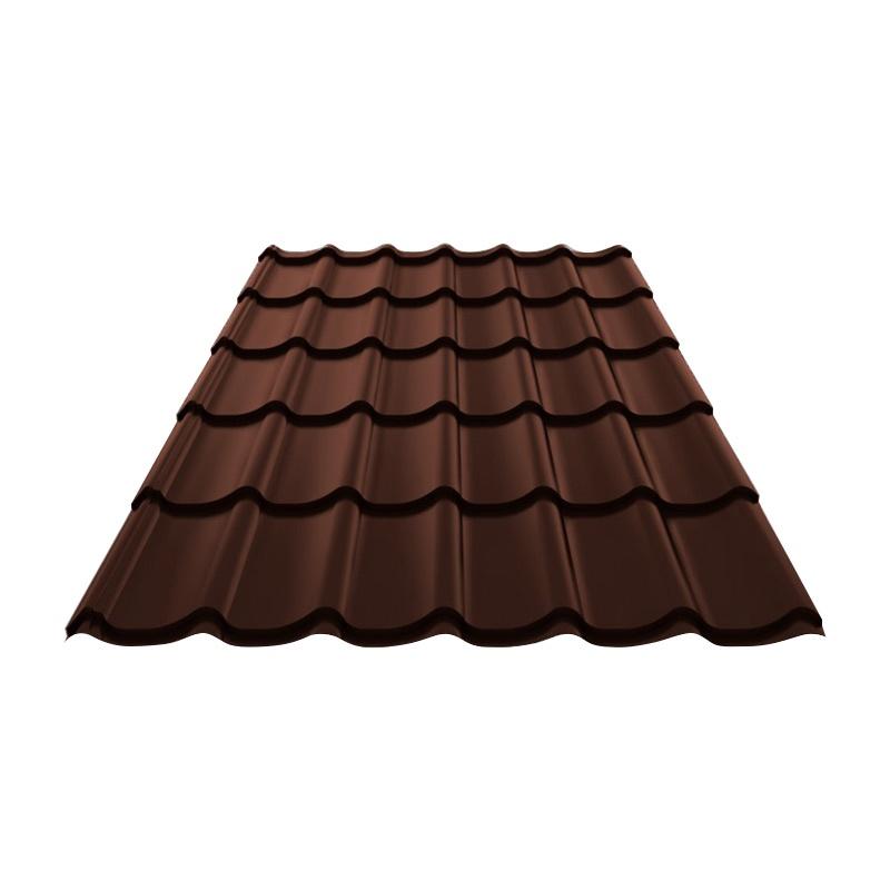 Металлочерепица (RAL 8017) корич. шоколад 1190x2250x0,4 мм (2,68 м2)