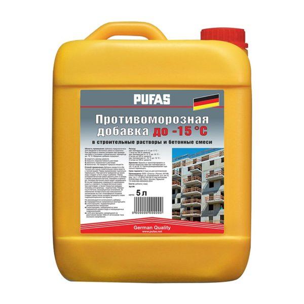 Противоморозная добавка для бетона Pufas до -15 °С, 5 л = 6,65 кг