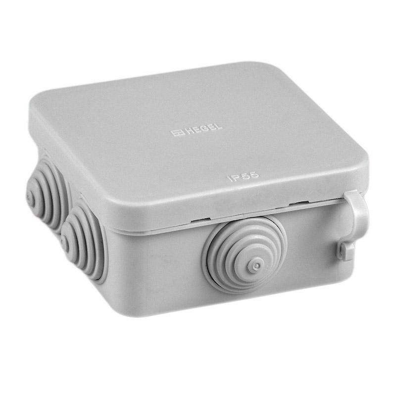 Коробка разветвительная о/у Hegel КР-2605-И 70х70х40мм, RAL7035, IP55 (6 вводов)