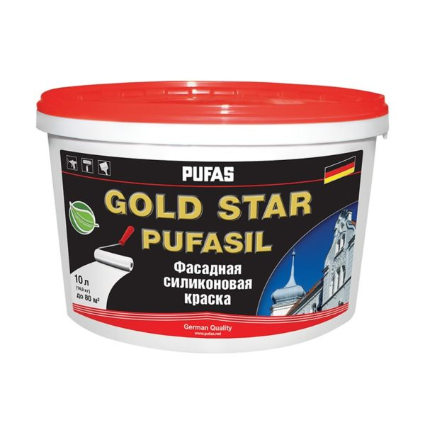 Краска в/д силиконовая фасадная GOLD STAR PUFASIL D (10 л)