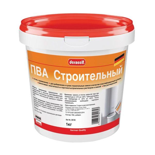 Клей ПВА Decoself cтроительный пластификатор (1 кг)
