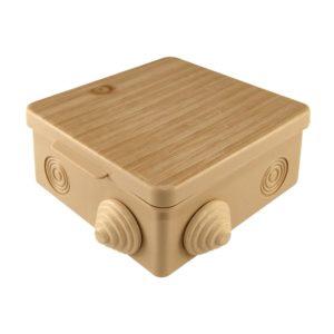 Коробка разветвительная о/у, 100х100х55мм, сосна, IP54, с крышкой (8 вводов)