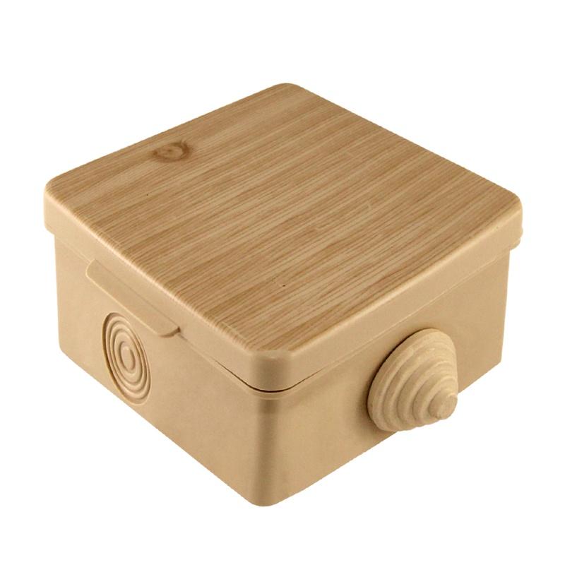 Коробка разветвительная о/у, 65х65х50мм, сосна, IP54, с крышкой (4 ввода)