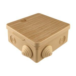 Коробка разветвительная о/у, 80х80х50мм, сосна, IP54, с крышкой (7 вводов)