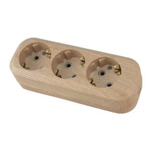 Колодка 3 гнезда, с/з, 16А, 230В, ABS-пластик, сосна