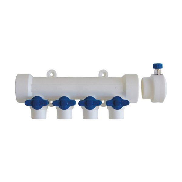 Коллектор полипропиленовый с шаровыми кранами 32 мм x 4 отвода x 20 мм