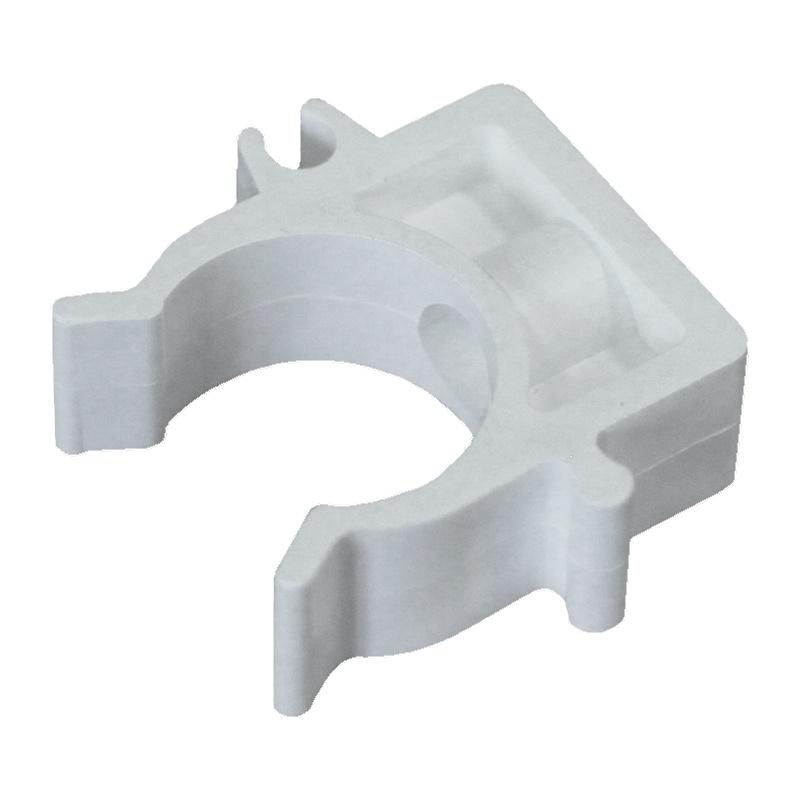 Опора (клипса) пластиковая для труб 25мм, белая (уп 10 шт)