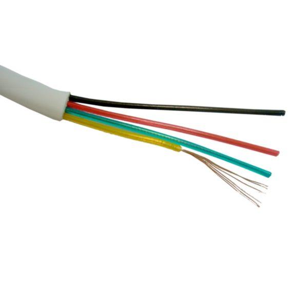 Шнур телефонный линейный плоский ШТЛП 4с, многожил-й, омедн-й, белый (бухта-100 п.м.)