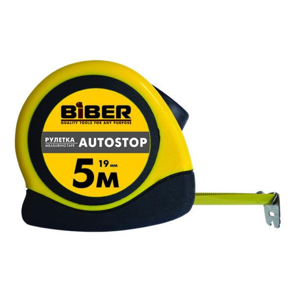 Рулетка Biber 40072 Autostop обрезиненный корпус 5 м/19 мм
