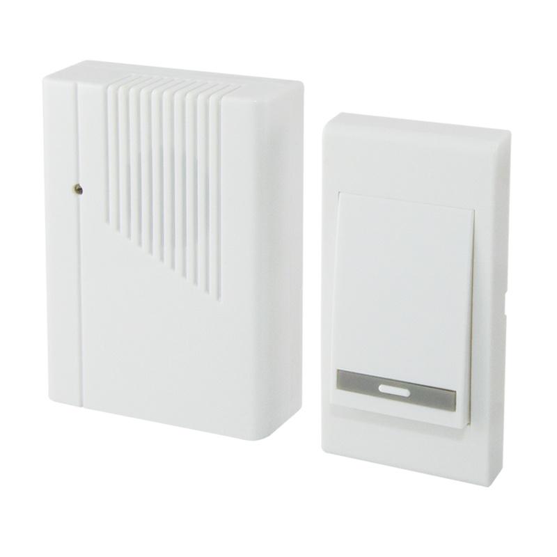 Звонок беспроводной, с кнопкой, эл.питания 2х1,5В/АА, 36 мелодий, белый, IP30