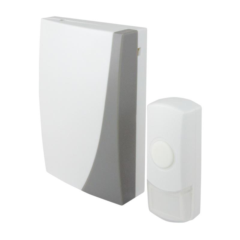 Звонок беспроводной, с кнопкой, эл.питания 3х1,5В/АА, 36 мелодий, белый, IP44