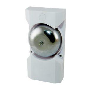 Звонок проводной, б/кнопки,230В (клеммная колодка),э/механич. 1 тон, стал. кругл. чашка, белый, IP30