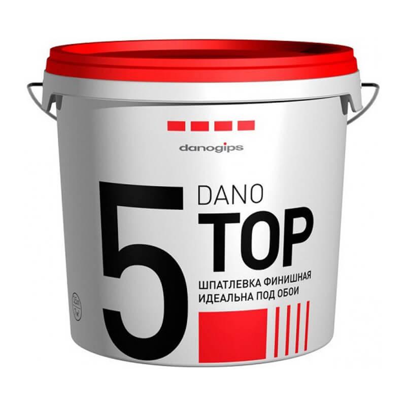 Финишная готовая полимерная шпатлевка Даногипс Dano Top 5, 10 л