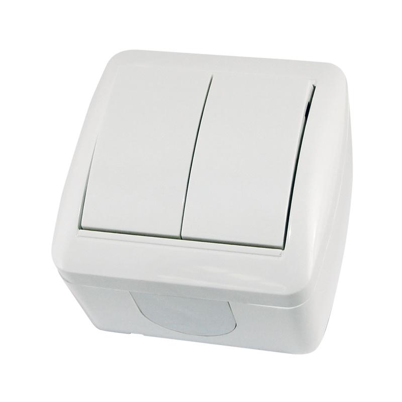 Выключатель о/у TDM Селигер SQ1818-0002, 2 клавиши, 10А, 230В, IP44, белый