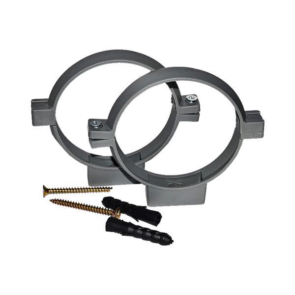 Хомут пластиковый для канализационных труб d=110 мм, с дюбелем и шурупом, серый (уп.2 шт)