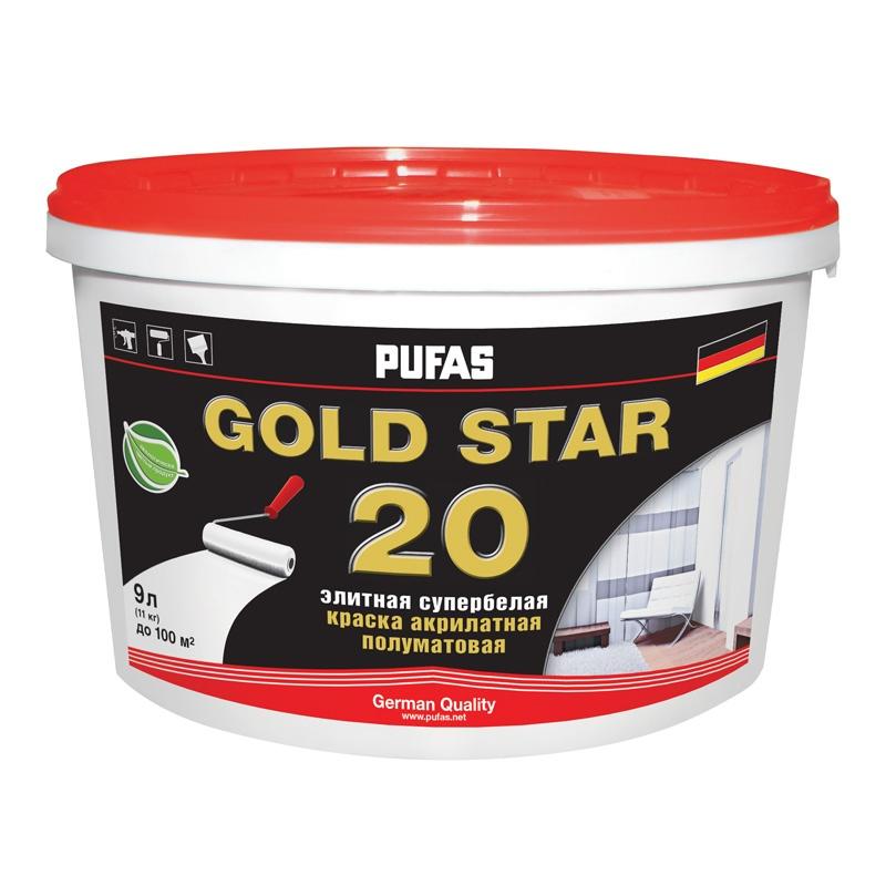Краска акрилатная GOLD STAR 20 полумат. Основа А мороз. (9 л)