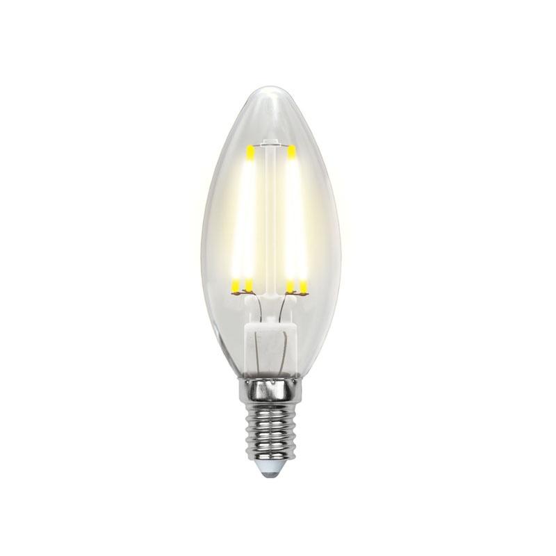 Лампа филаментная LED E14, свеча С35, 6Вт, 230В, 4000К, холод. белый свет