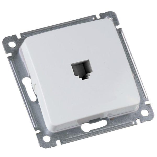 Розетка в рамку компьютерная Мастер RJ-45 кат.5е, с/у, 1 гнездо, IP20, белая. РСК-400